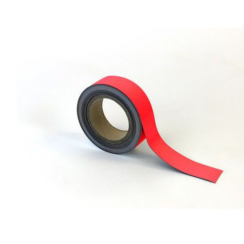 Magnetická páska na regály Manutan, 10 m, červená, šířka 40 mm