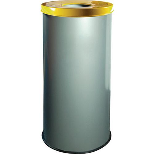 Kovové odpadkové koše EKO na tříděný odpad, objem 45 l, žlutý