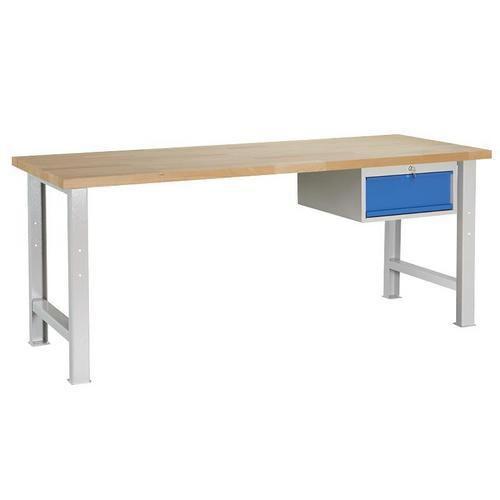 Dílenský stůl Weld se zásuvkou, 84 x 200 x 80 cm, šedý - Prodloužená záruka na 10 let