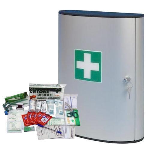Kovová nástěnná lékárnička, uzamykatelná, 40 x 30,2 x 11,8 cm, s