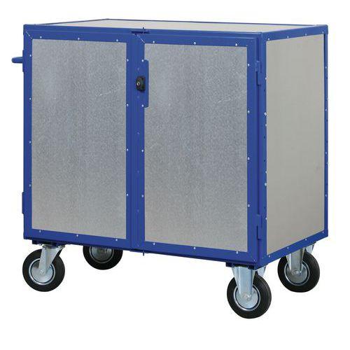 Uzavíratelný skříňový vozík s madlem a plnými stěnami, do 600 kg