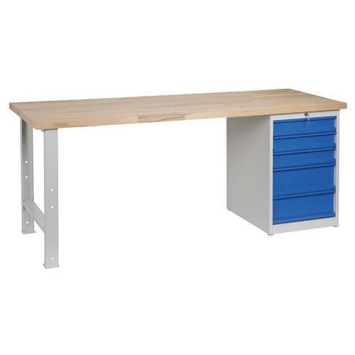 Dílenský stůl Weld s 5 zásuvkami, 84 x 200 x 68,5 cm, šedý - Prodloužená záruka na 10 let