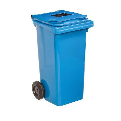 Plastová venkovní popelnice na tříděný odpad s otvorem, objem 120 l, modrá