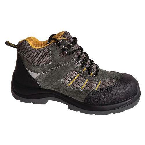 Pracovní semišové kotníkové boty Manutan s ocelovou špicí, zelené/šedé