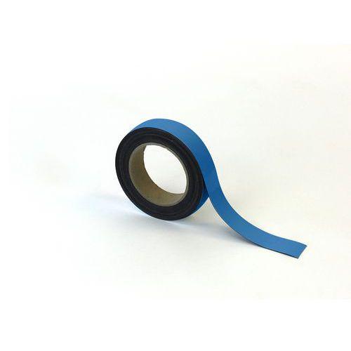 Magnetická páska na regály Manutan, 10 m, modrá, šířka 30 mm