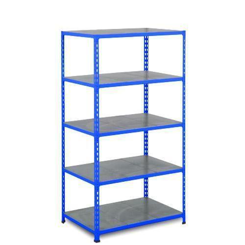 Kovový regál Rapid 2, 198 x 91,5 x 61 cm, 950 kg, 5 ocelových polic, modrý