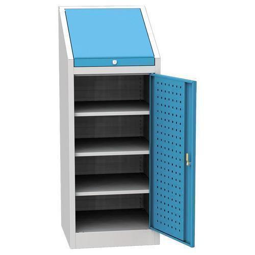 Dílenská skříň na nářadí, 3 police, 130 x 50 x 50 cm, šedá/modrá