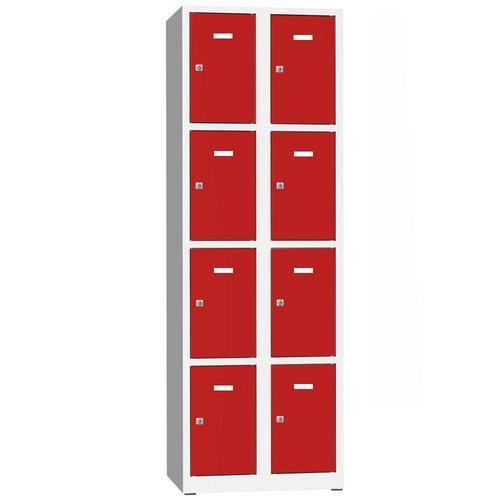 Svařovaná šatní skříň Philip, 8 boxů, cylindrický zámek, šedá/če
