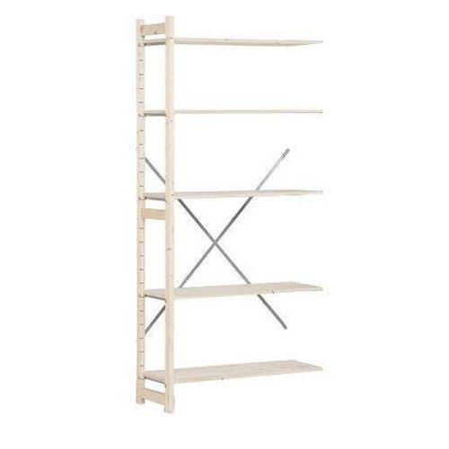 Dřevěné regály, přístavbový, 209 x 97 x 30 cm, 5 polic, smrk