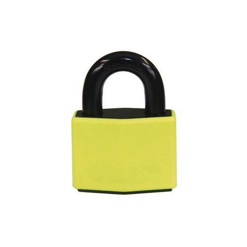 Odolný visací zámek, ocel, žlutý, průměr třmene 12 mm