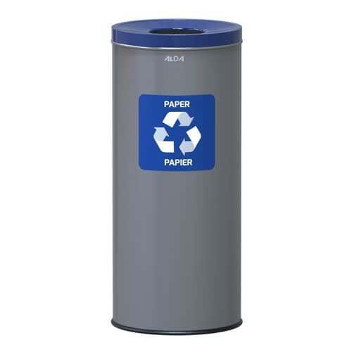 Kovové odpadkové koše EKO na tříděný odpad, objem 45 l, modrý