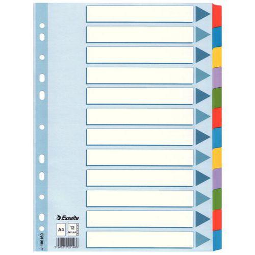 Papírové rozdružovače, 12 oddílů