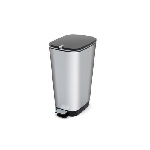 Plastový odpadkový koš Chic, objem 60 l, stříbrný