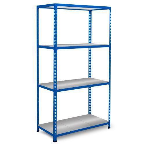 Kovový regál Rapid 2, 160 x 91,5 x 61 cm, 760 kg, 4 ocelové police, modrý