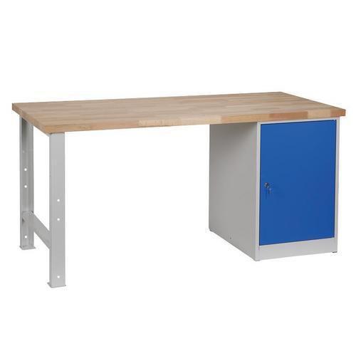 Dílenský stůl Weld se skříňkou 80 cm, 84 x 170 x 68,5 cm, šedý - Prodloužená záruka na 10 let
