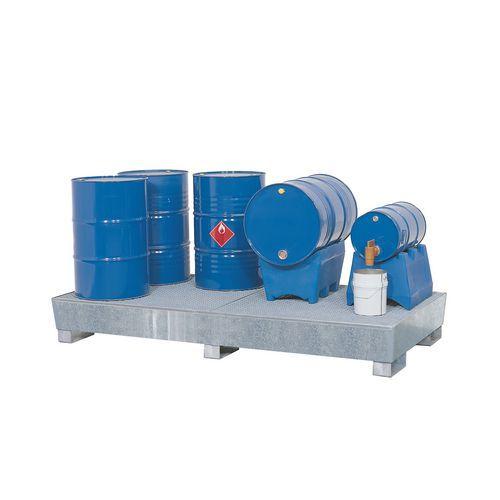 Ocelová záchytná vana s roštem, kapacita 660 l
