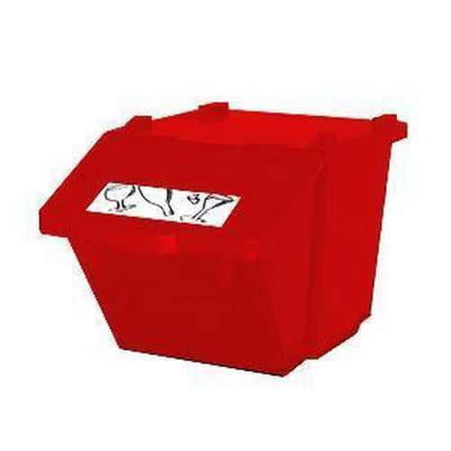 Plastový odpadkový koš na tříděný odpad, objem 45 l, červený - Prodloužená záruka na 10 let