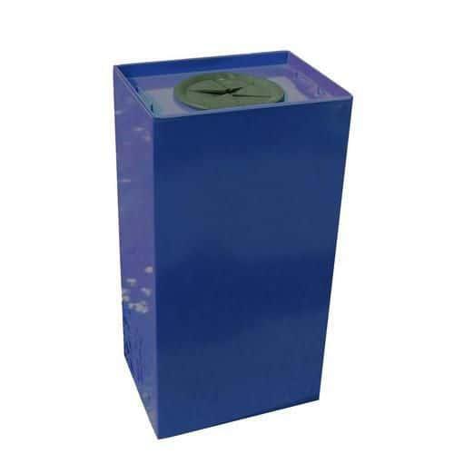 Kovový odpadkový koš Unobox na tříděný odpad, objem 100 l, modrý