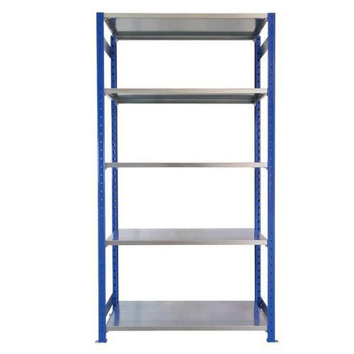 Kovový regál, základní, 200 x 100 x 50 cm, 2 000 kg, 5 polic, modrý