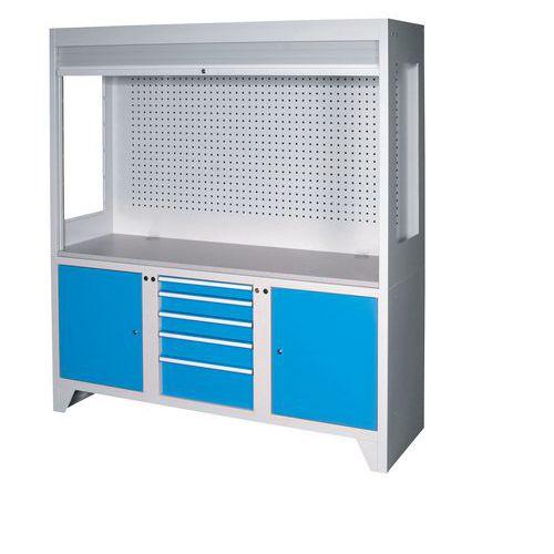 Kontrolní pracoviště, 203 x 180 x 600 cm, modré
