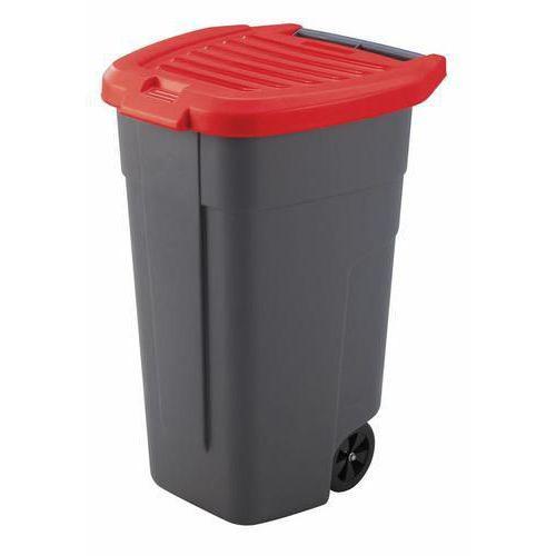 Plastová popelnice na tříděný odpad, objem 100 l, červená