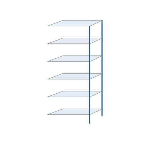 Kovový regál, přístavbový, 250 x 100 x 40 cm, 2 000 kg, 6 polic, modrý