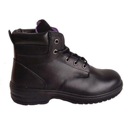 Pracovní koženkové kotníkové boty Manutan s ocelovou špicí, dámské, černé, vel. 39