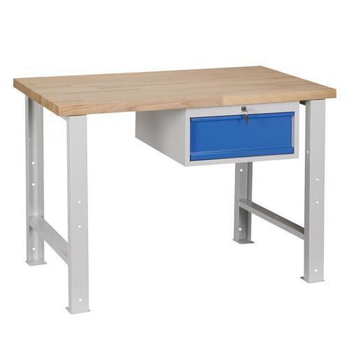 Dílenský stůl Weld se zásuvkou, 84 x 120 x 68,5 cm, šedý