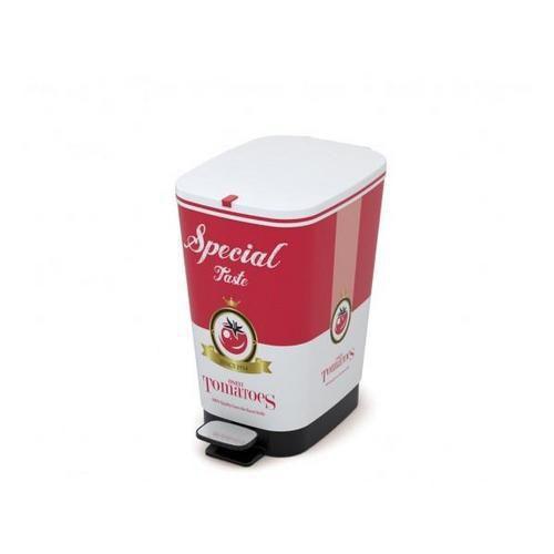 Plastový odpadkový koš Chic, objem 35 l, červeno-bílý