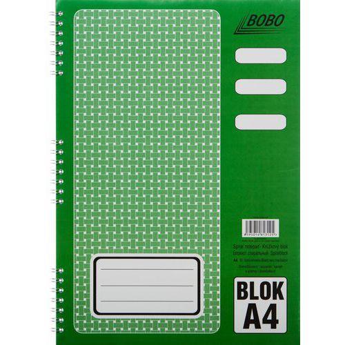 Blok A4 s kovovou boční spirálou, čtverečkovaný, 5 ks
