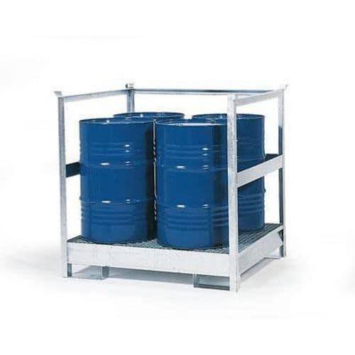 Stanice na nebezpečné látky na sudy 200 l, 4 sudy, pozink - Prodloužená záruka na 10 let
