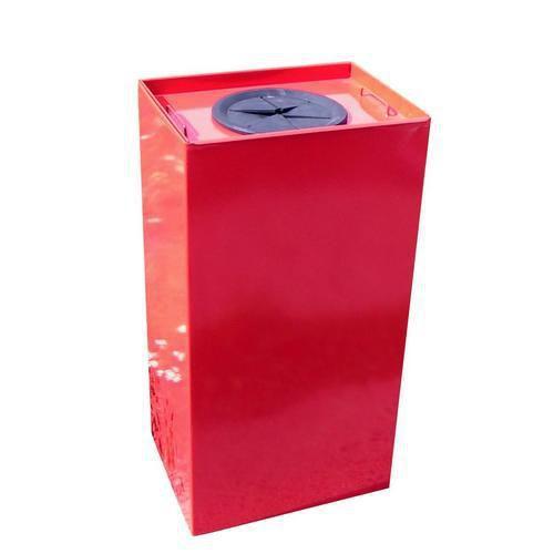 Kovový odpadkový koš Unobox na tříděný odpad, objem 100 l, červený