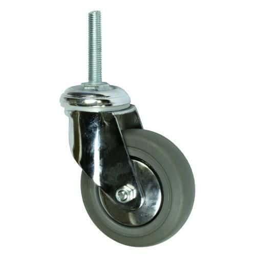 Gumové přístrojové kolo s čepem, průměr 100 mm, otočné, kluzné ložisko