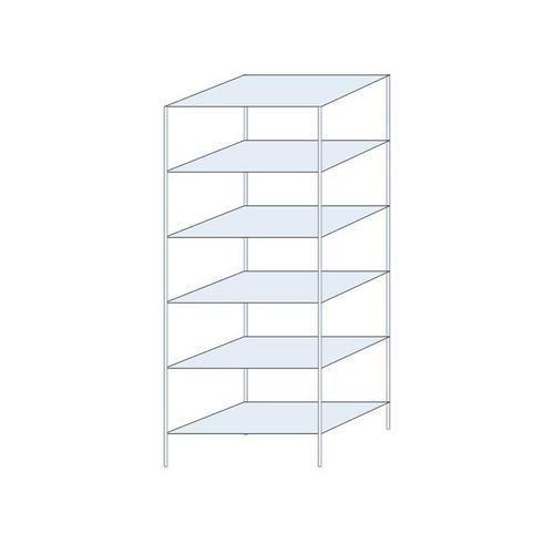 Kovový regál, základní, 250 x 100 x 60 cm, 1 700 kg, 6 polic, stříbrný