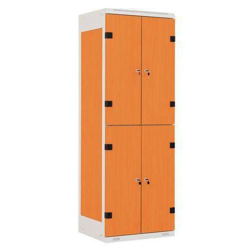 Šatní skříň Albert s dřevěnými dveřmi, 4 boxy, šedá/třešeň