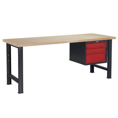 Dílenský stůl Weld se 3 zásuvkami, 84 x 150 x 80 cm, antracit