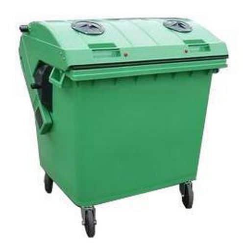 Plastová venkovní popelnice na tříděný odpad, objem 1 100 l, zelená