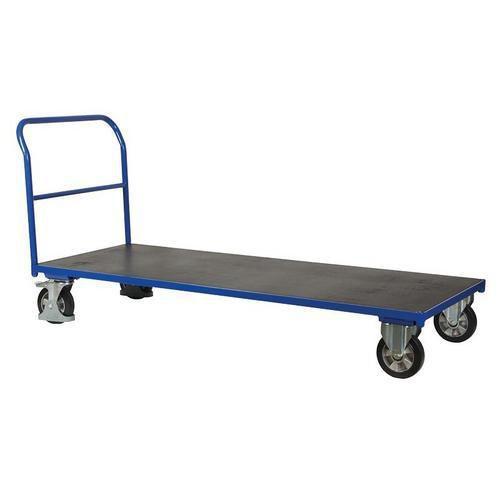 Plošinový vozík s madlem, do 1 000 kg, 100,6 x 212,8 x 80 cm