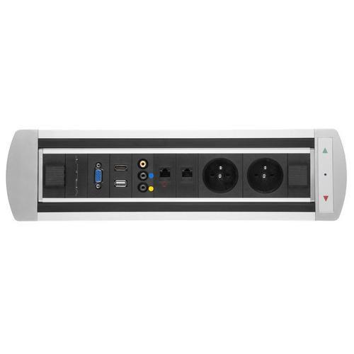 Elektricky otočný zásuvkový panel, 2 x elektrická, 2 x datová