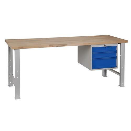 Dílenský stůl Weld se 3 zásuvkami, 84 x 200 x 68,5 cm, šedý - Prodloužená záruka na 10 let