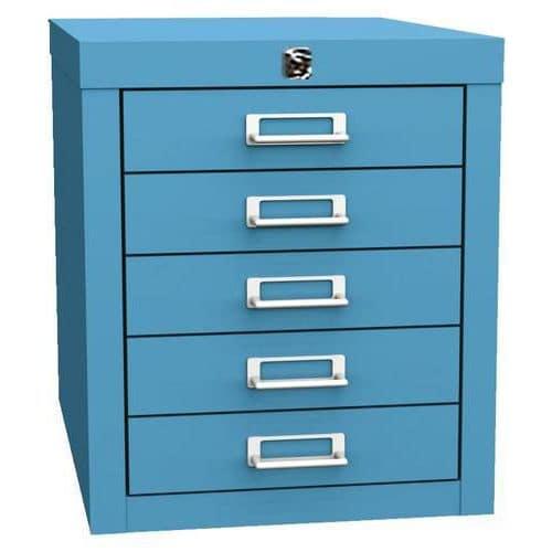 Jednořadá kovová kartotéka A4 Esk, 5 zásuvek, modrá, uzamykatelná - Prodloužená záruka na 10 let
