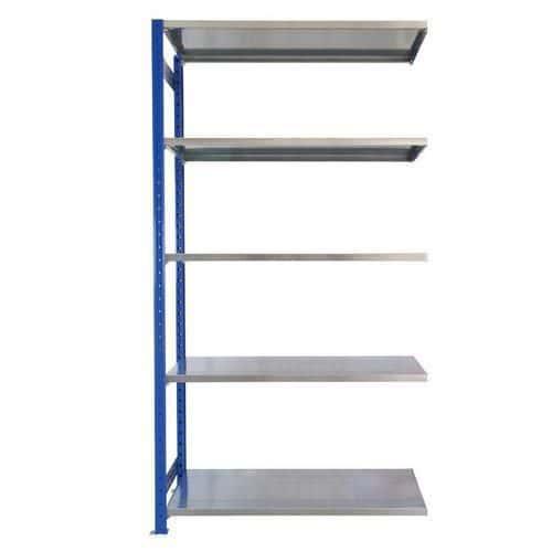 Kovový regál, přístavbový, 200 x 100 x 50 cm, 2 000 kg, 5 polic, modrý