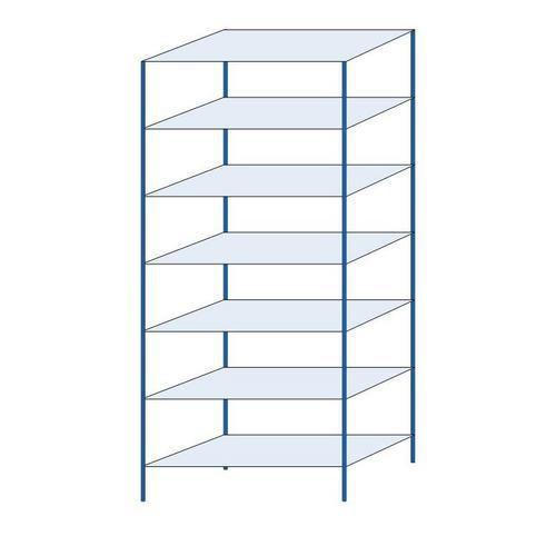 Kovový regál, základní, 300 x 130 x 60 cm, 2 000 kg, 7 polic, modrý