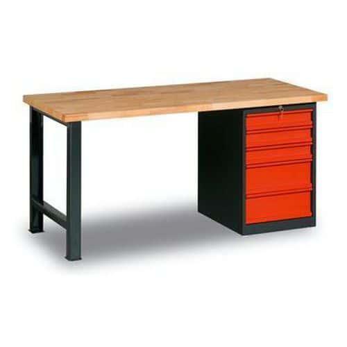 Dílenský stůl Weld s 5 zásuvkami, 84 x 200 x 80 cm, antracit - Prodloužená záruka na 10 let
