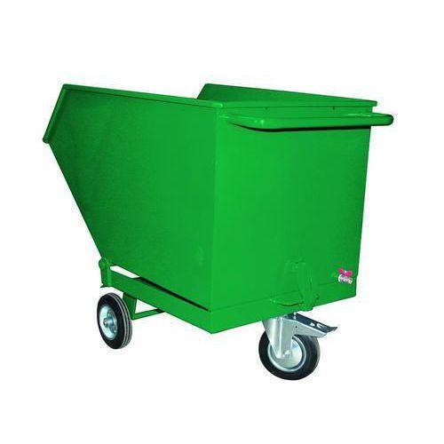 Pojízdný výklopný kontejner se sítem a výpustným kohoutem, objem 600 l, zelený