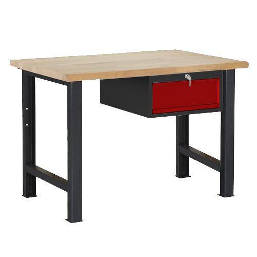 Dílenský stůl Weld se zásuvkou, 84 x 120 x 80 cm, antracit - Prodloužená záruka na 10 let