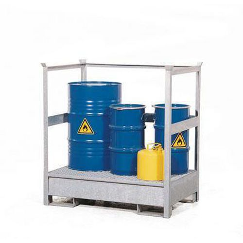 Stanice na nebezpečné látky na sudy 200 l, 2 sudy, pozink - Prodloužená záruka na 10 let