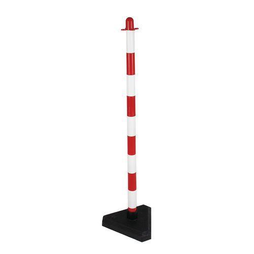 Plastový zahrazovací sloupek Dong, výška 90 cm, bílý/červený