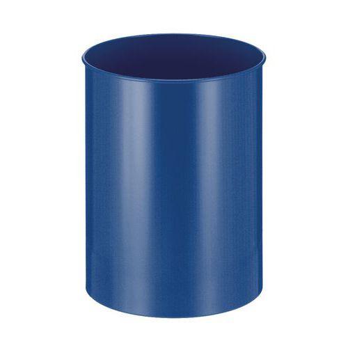 Kovový odpadkový koš Tube, objem 30 l, modrý