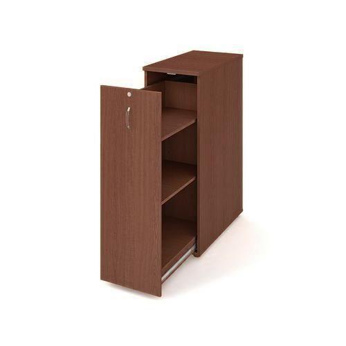 Přístavbová střední skříň, 117,7 x 40 x 80 cm, výsuvná se dvěma policemi - levé provedení, dezén ořech - Prodloužená záruka na 10 let
